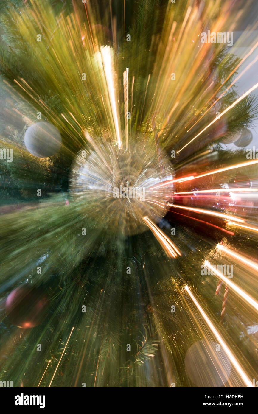 Christmas tree motion burst - Stock Image