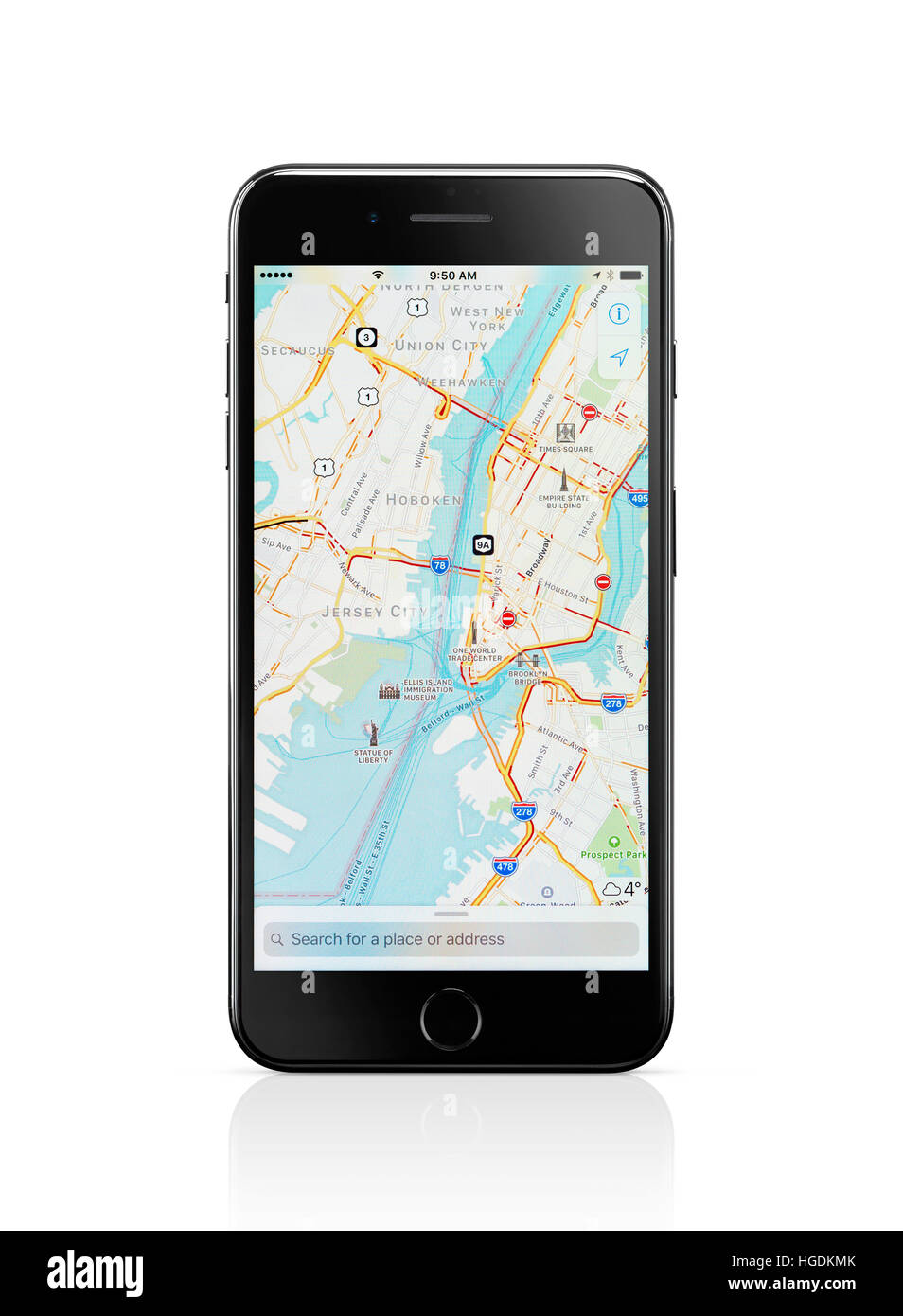 Apple iPhone 7 Plus, with Apple Maps GPS navigation map, showing New York City downtown on its display Stock Photo