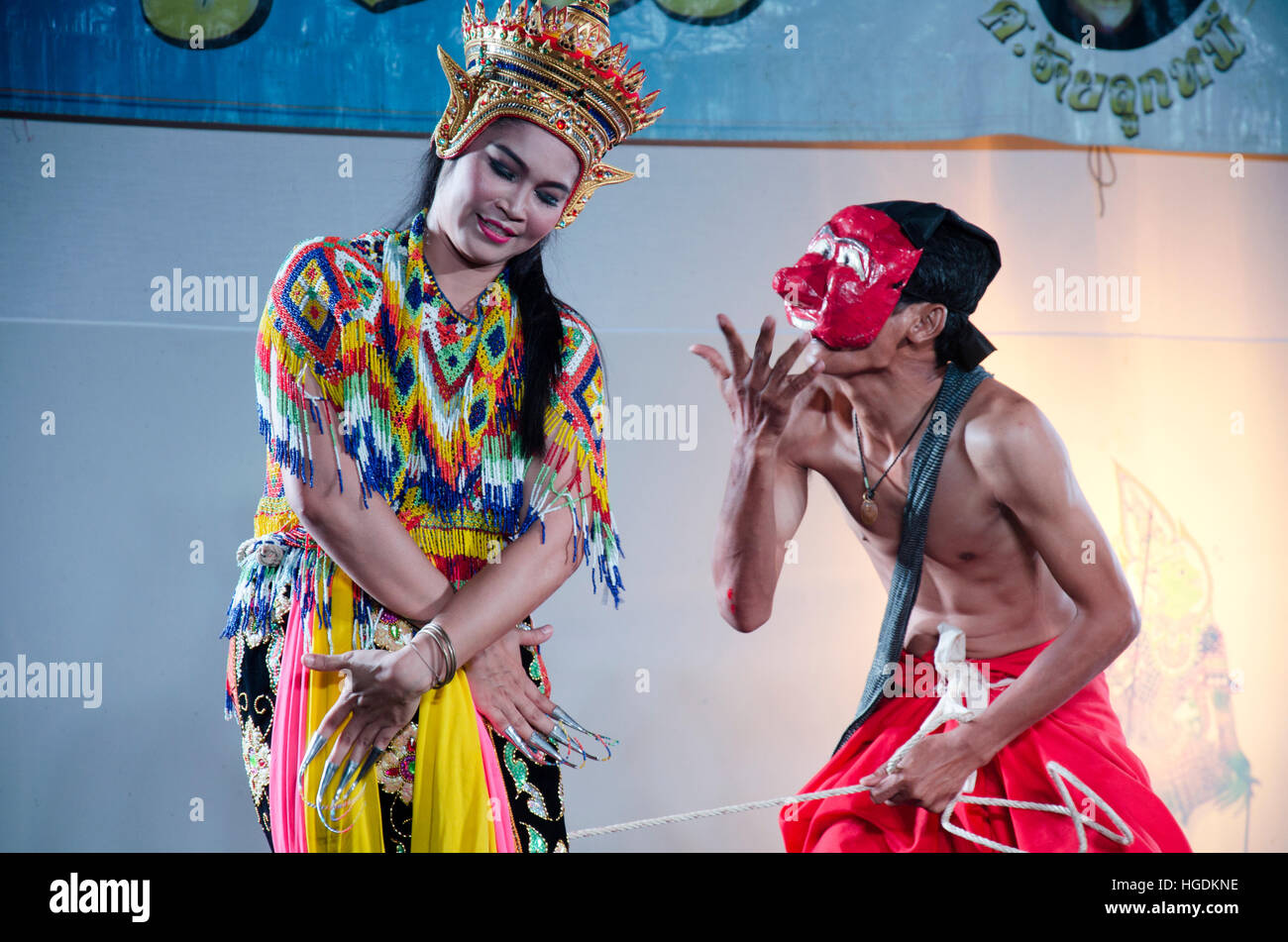 Manora dance is a traditional dance performance art of the South for show on stage at Wat Bangpai in night time - Stock Image