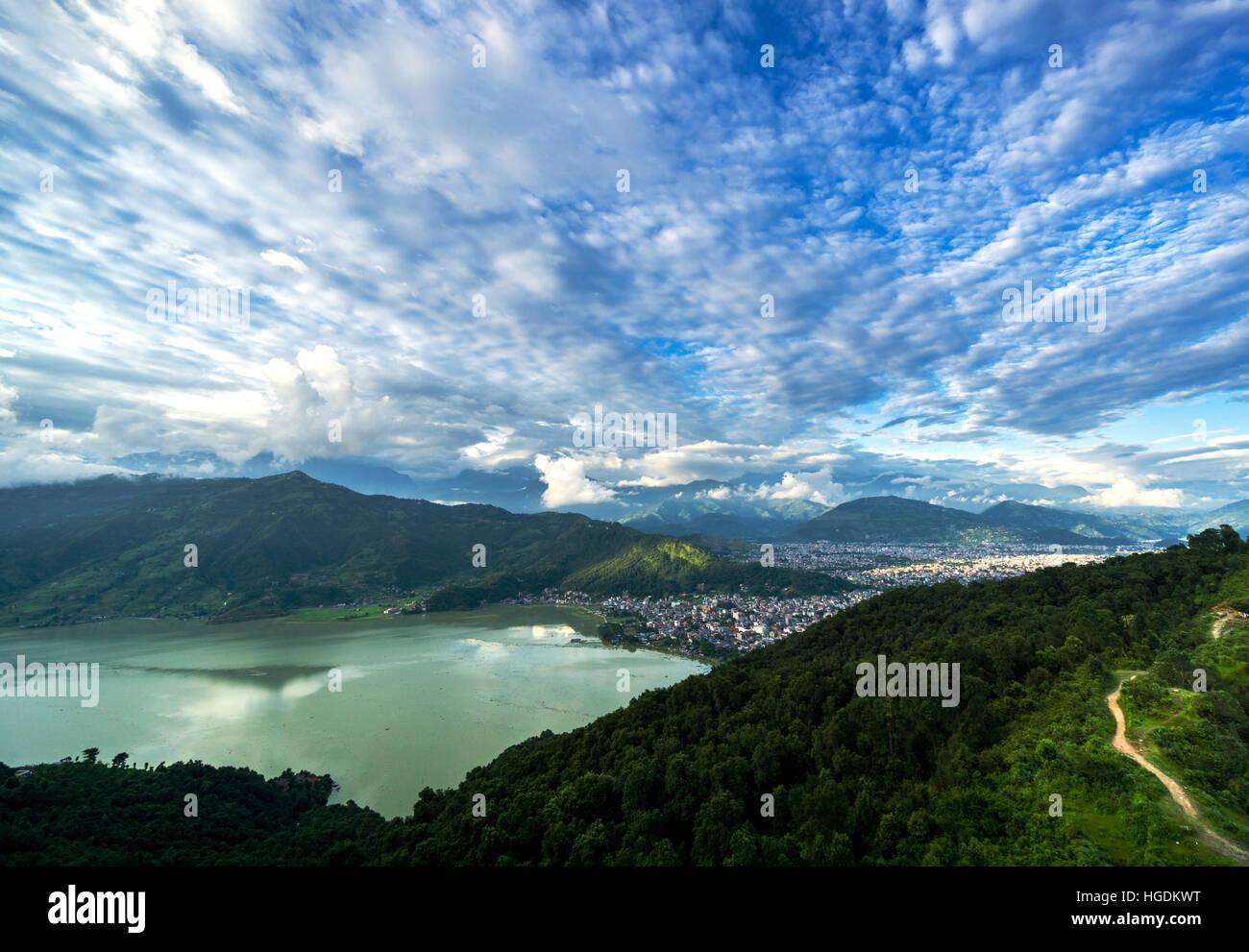 View on the city and the Phewa Lake, Pokhara, Kaski District, Nepal - Stock Image