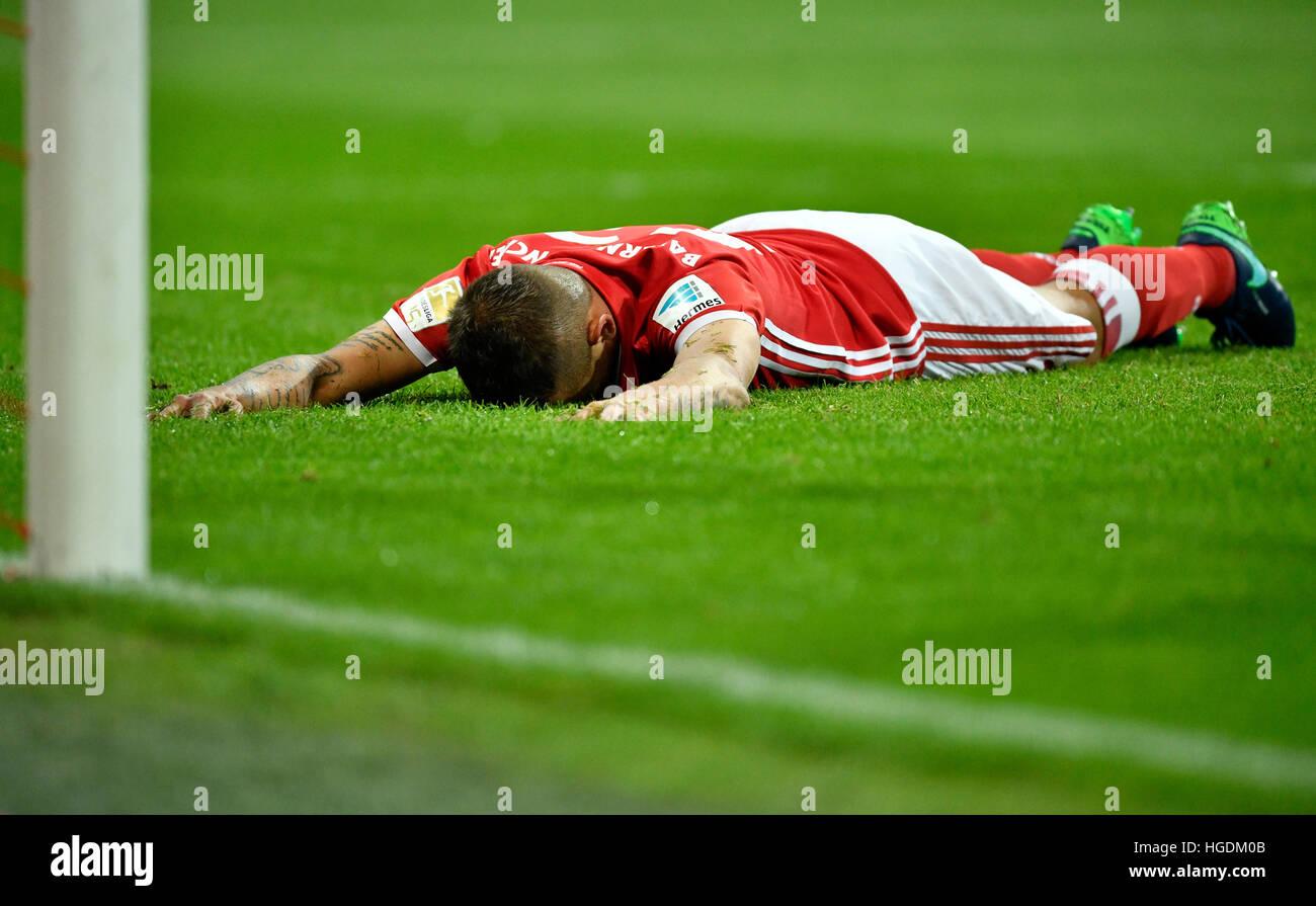 Rafinha lying on ground, disappointed, Bayern Munich, Allianz Arena, Munich, Bavaria, Germany - Stock Image