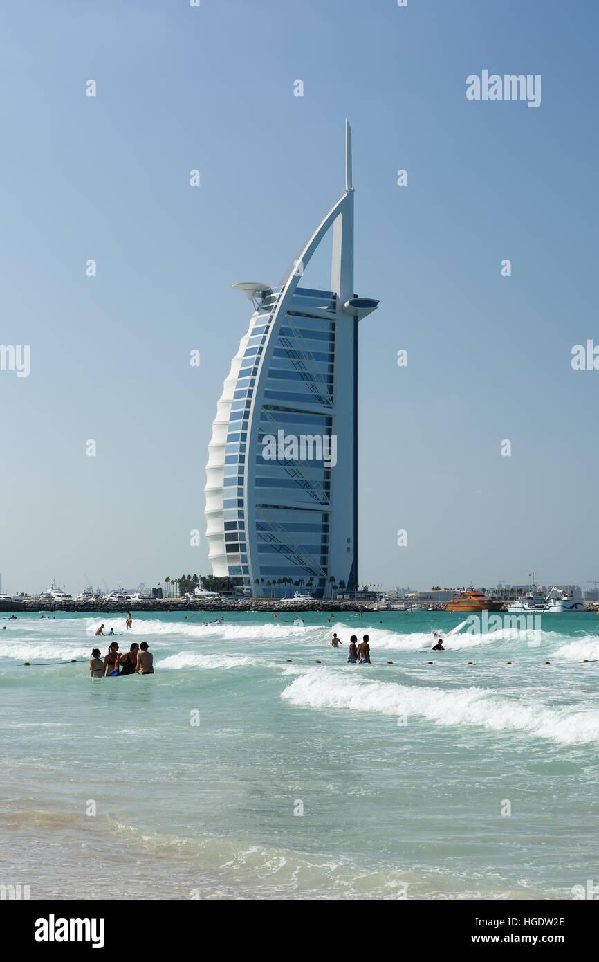 DUBAI, UNITED ARAB EMIRATES - DECEMBER 9, 2016: Cityscape of Burj Al Arab Hotel from Jumeirah beach, Dubai, UAE. - Stock Image
