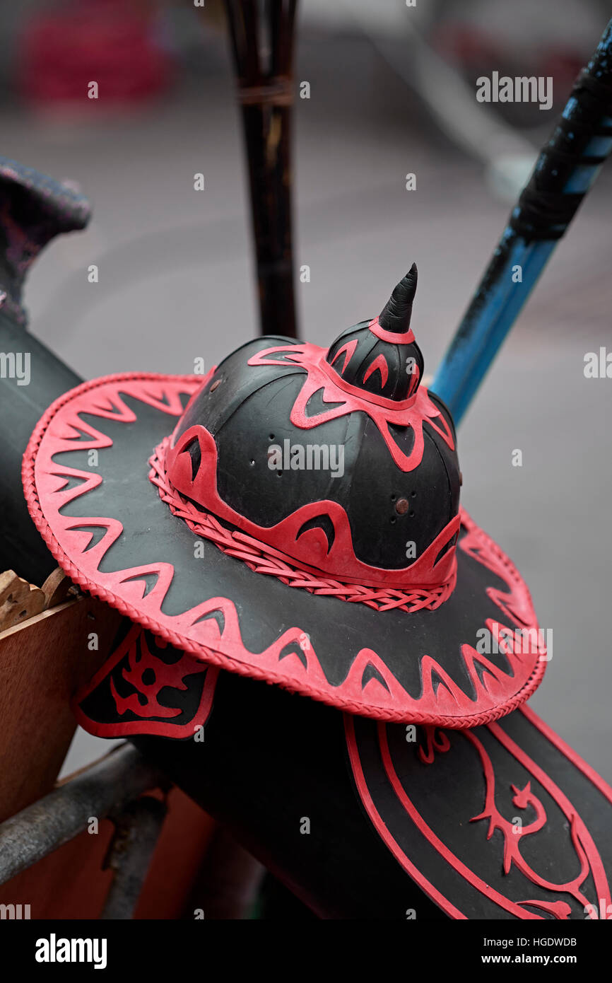 Ancient medieval hat as worn by a Thai army soldier. Thailand S. E. Asia - Stock Image