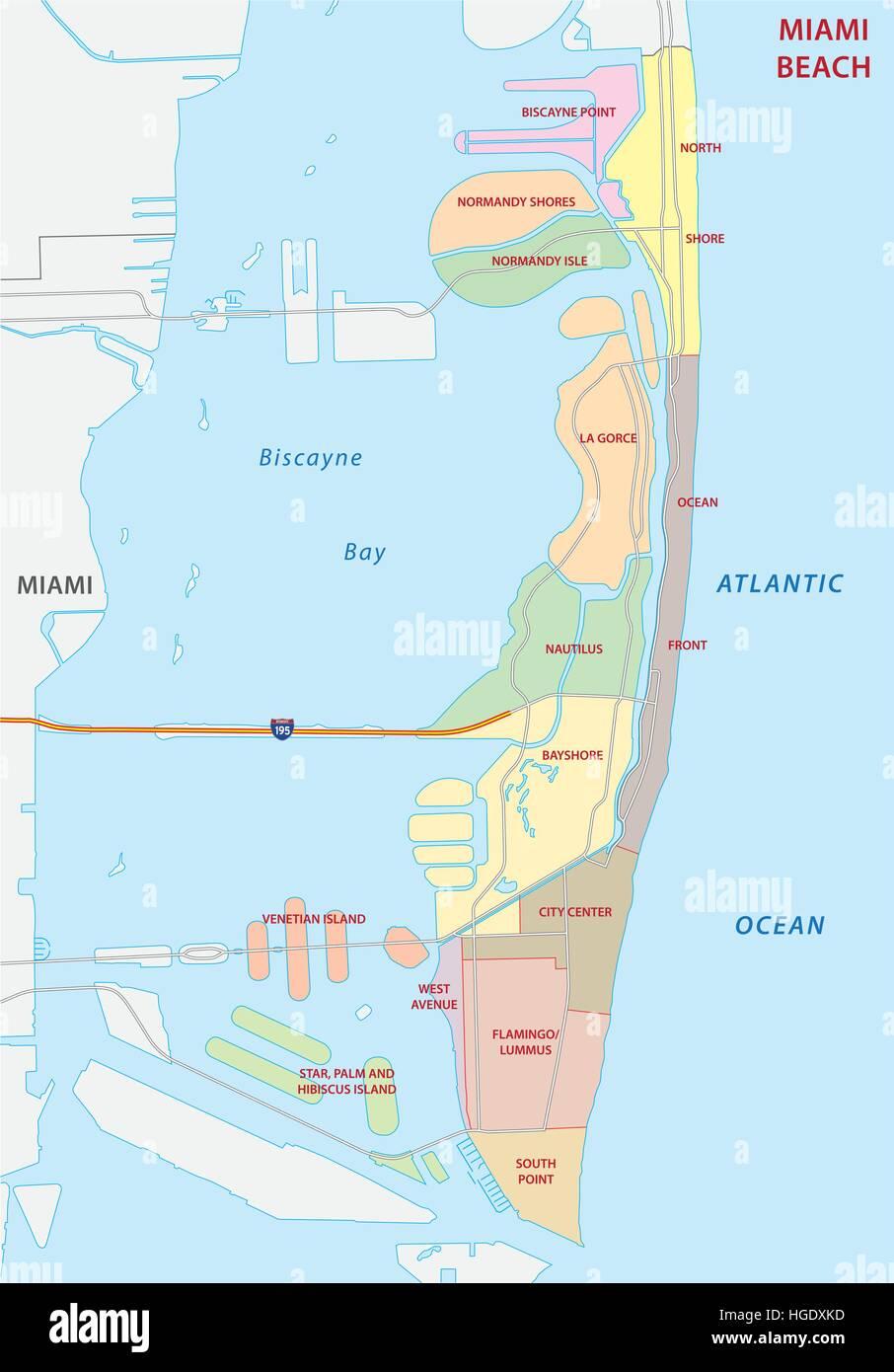 miami beach administrative map Stock Vector Art Illustration