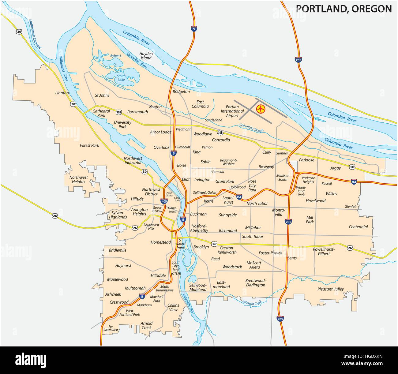 road and neighborhood map of Portland, Oregon Stock Vector Art ...