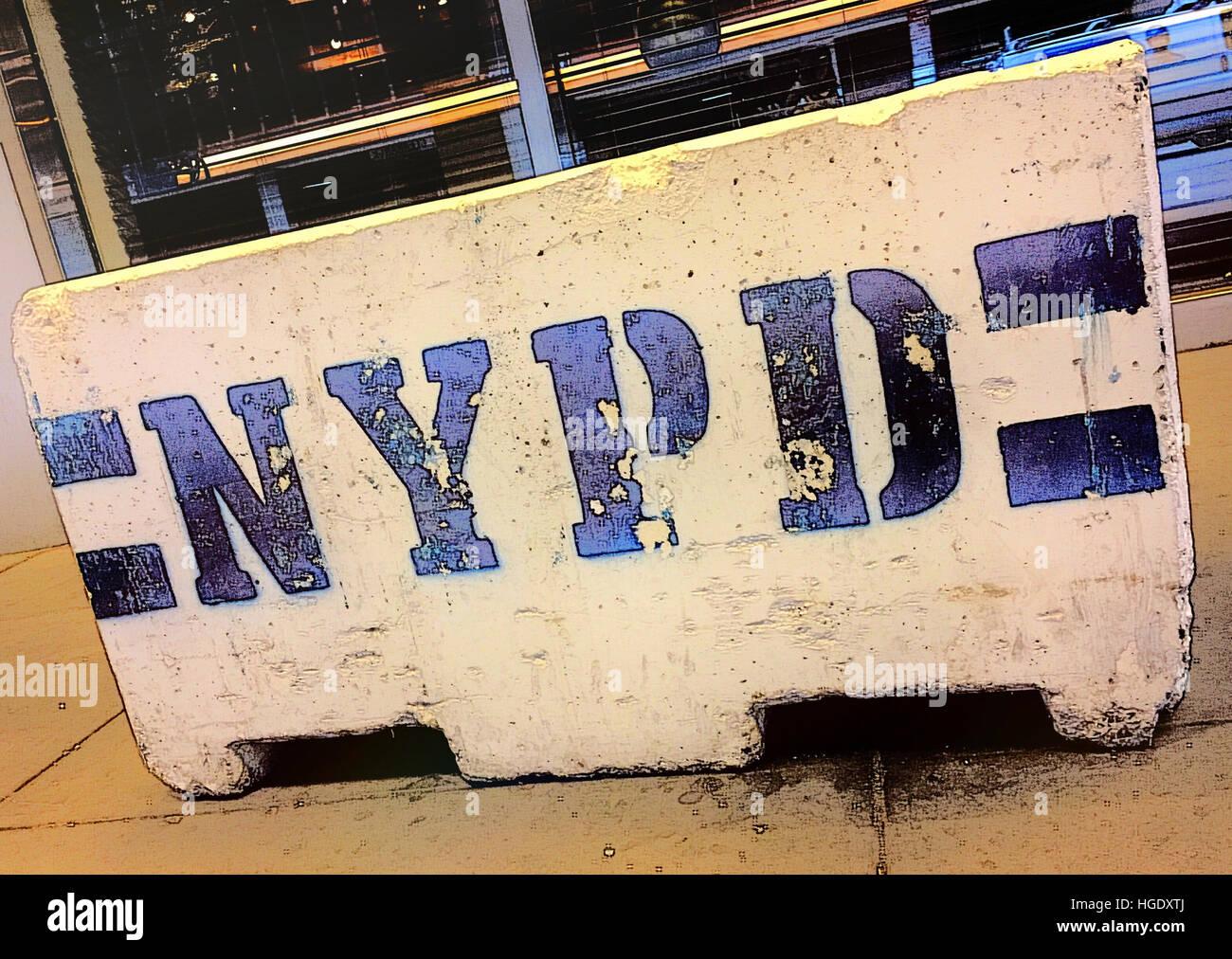 New York Police Department Barricade, NYC, USA - Stock Image