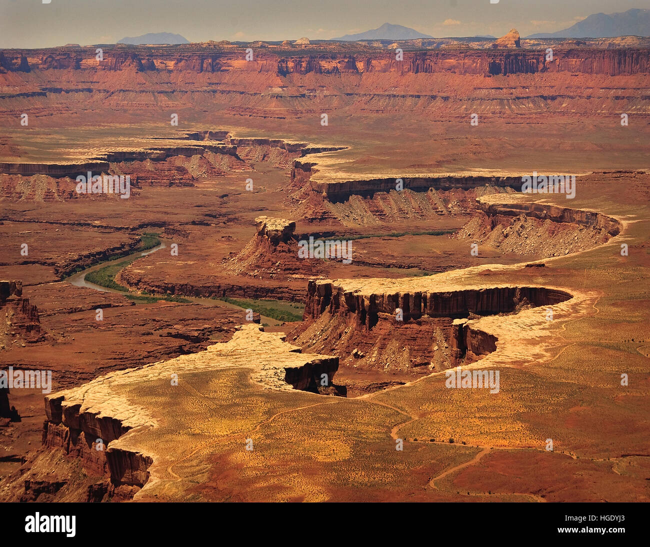 Canyonland National Park overlooking the Green River winding through the cataracts of The flatland within the National - Stock Image