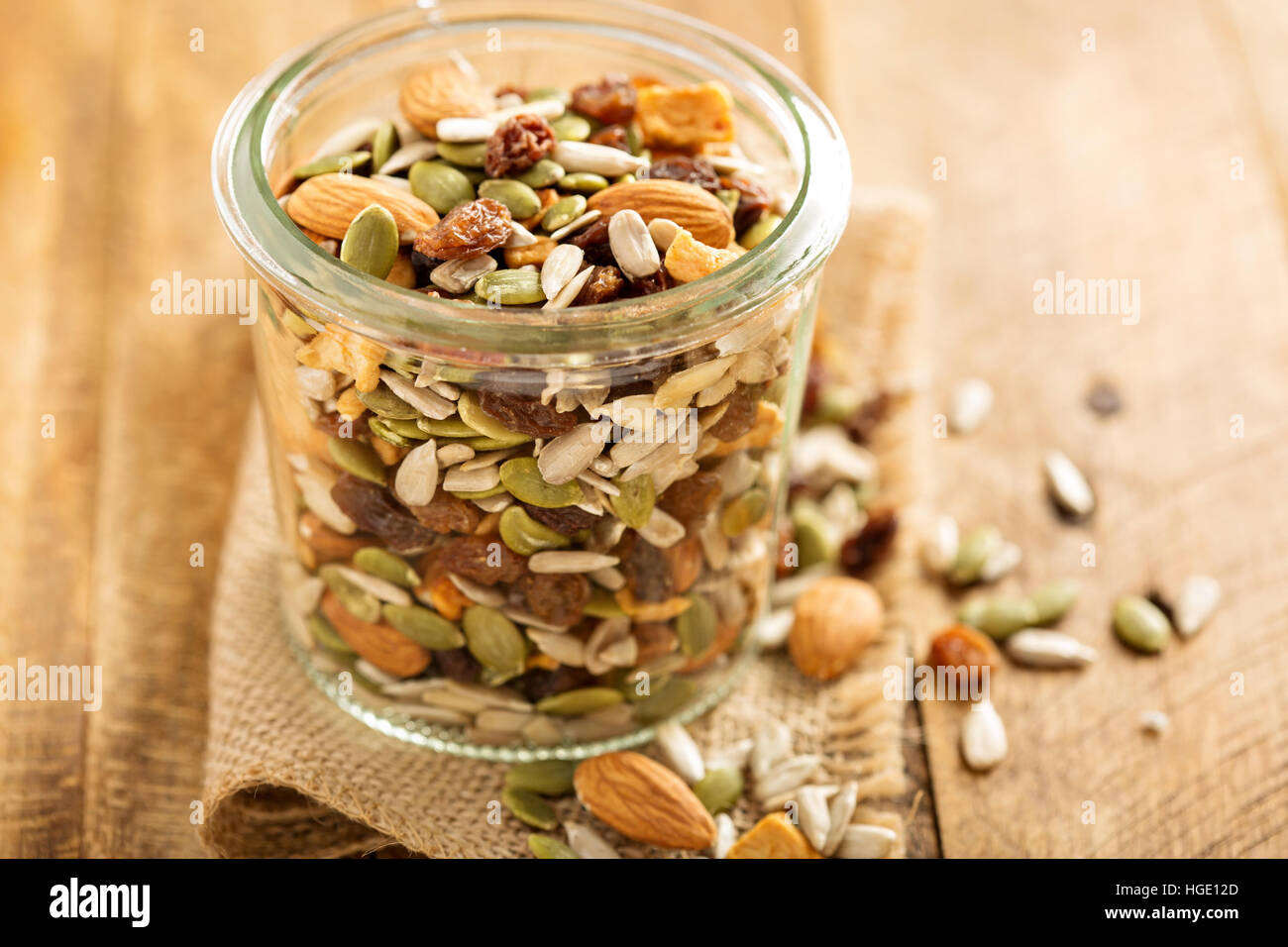Dried fruit and nuts trail mix - Stock Image