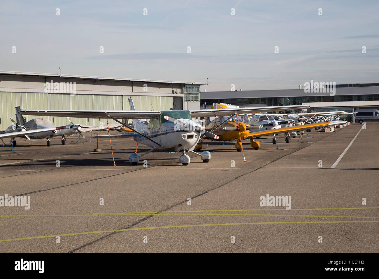 Light Aircraft at Stuttgart Airport in Stuttgart, Germany. - Stock Image