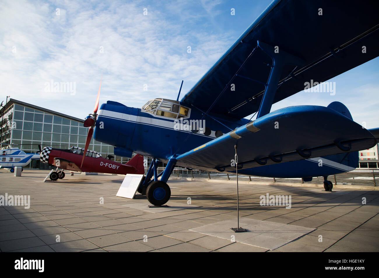 An Antonow AN-2 biplane at Stuttgart Airport in Stuttgart, Germany. - Stock Image