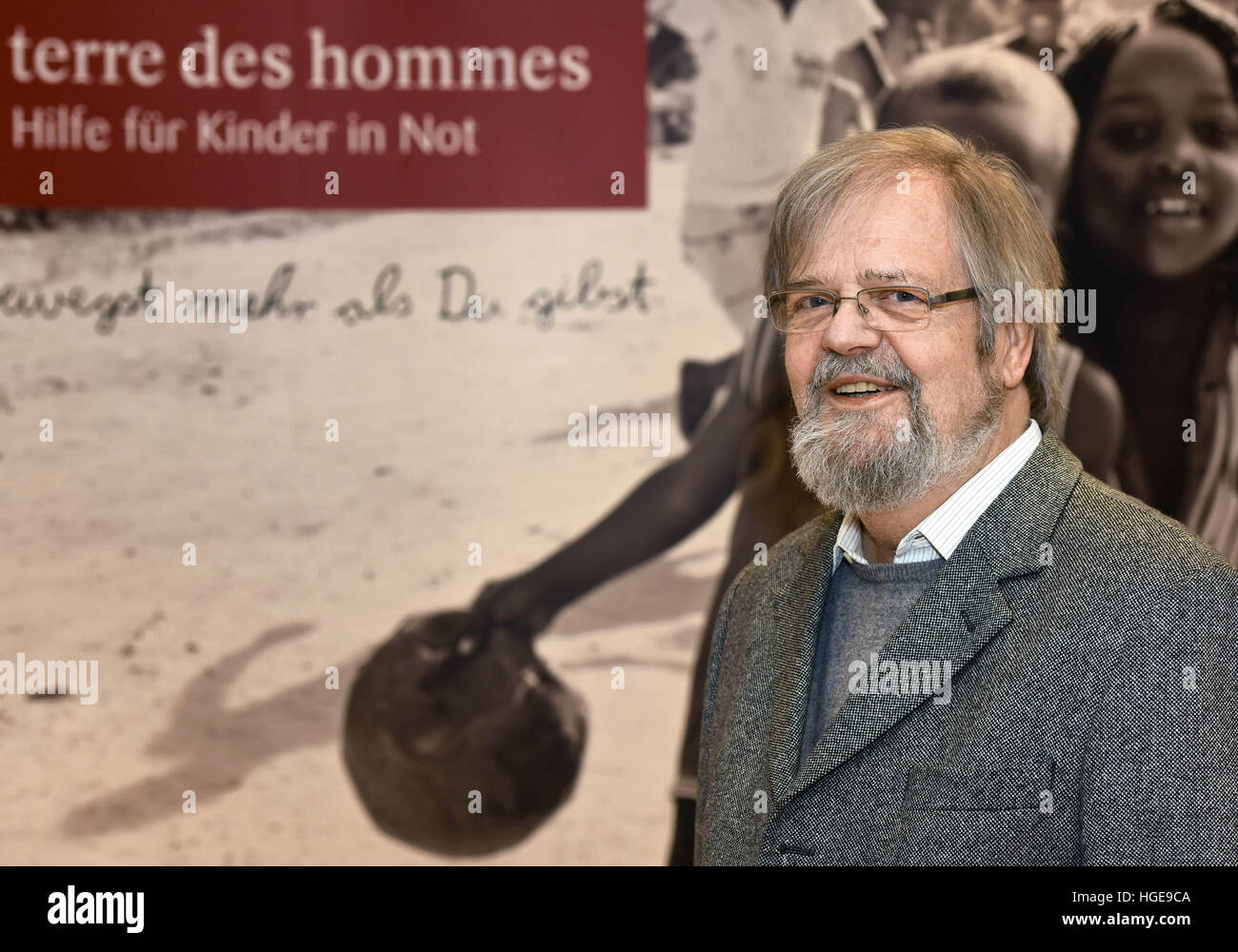 Osnabrueck, Germany. 07th Jan, 2017. Lutz Beisel, the founder of the children's aid organisation terre des hommes - Stock Image
