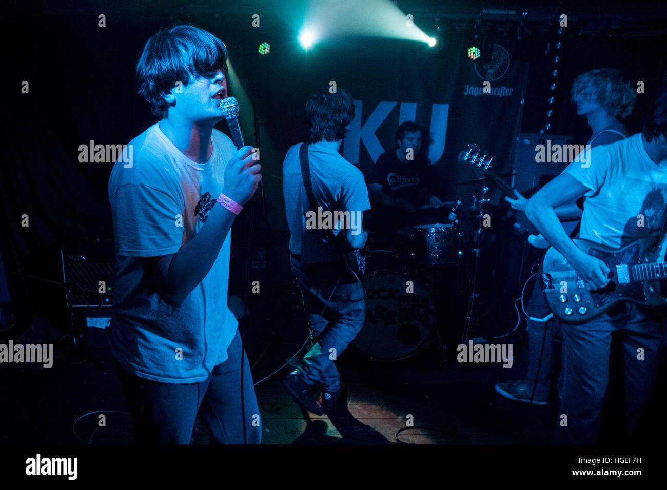 The band Cabbage play Ku Bar in Stockton in November 2016 - Stock Image