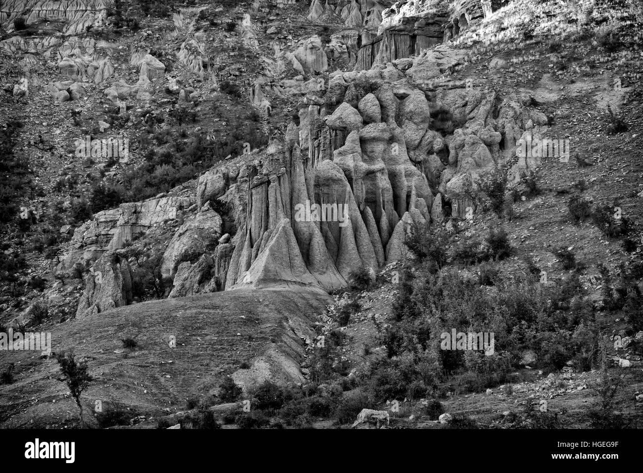 Earth bars in Kuklica, Kriva Palanka  Macedonia - Stock Image
