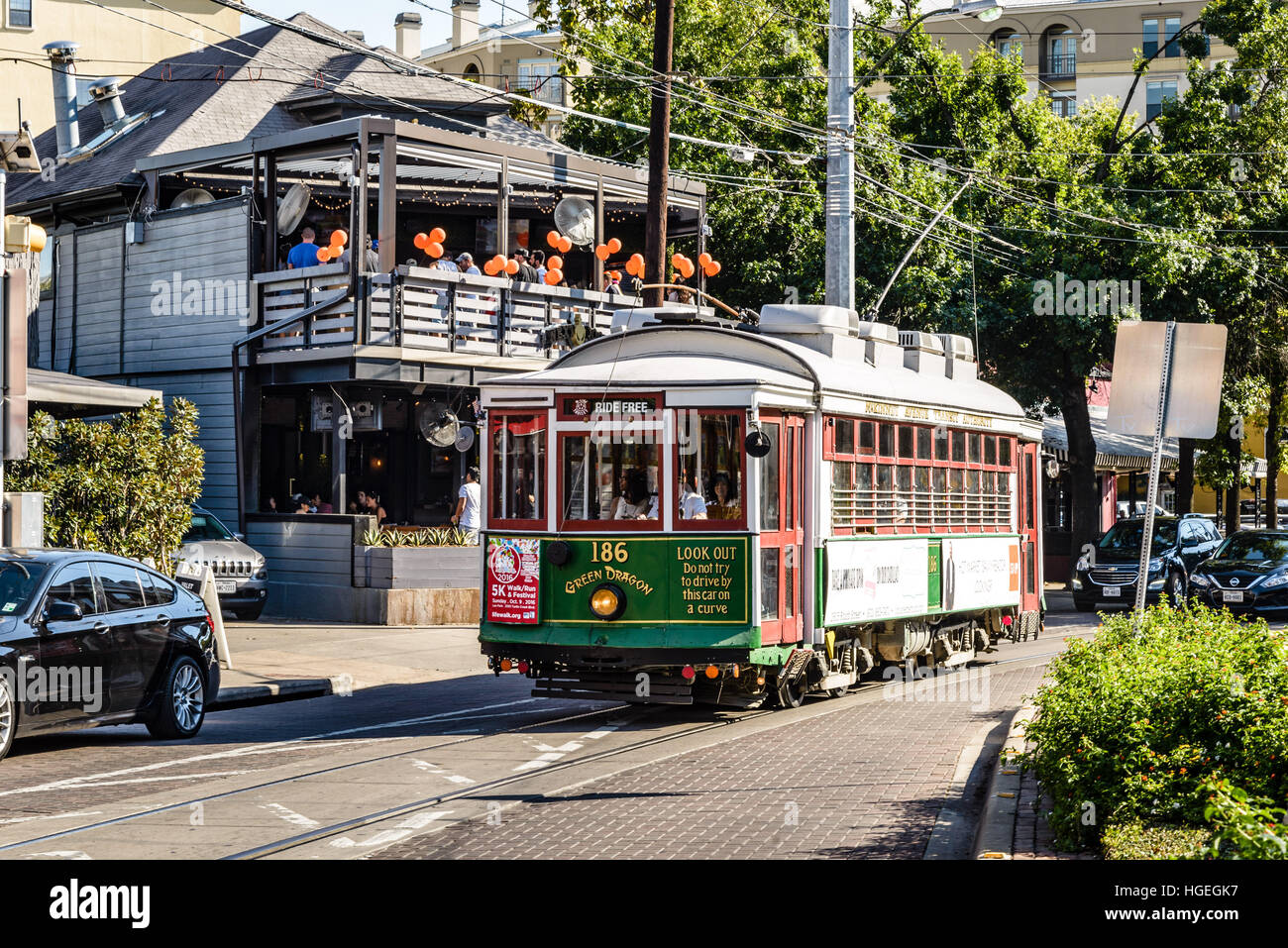Green Dragon M-Lines vintage trolley, McKinney Avenue, Dallas, Texas - Stock Image