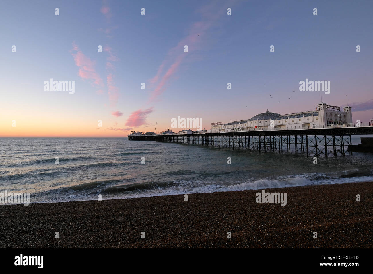 Brighton Palace Pier Sunrise East Sussex Stock Photo