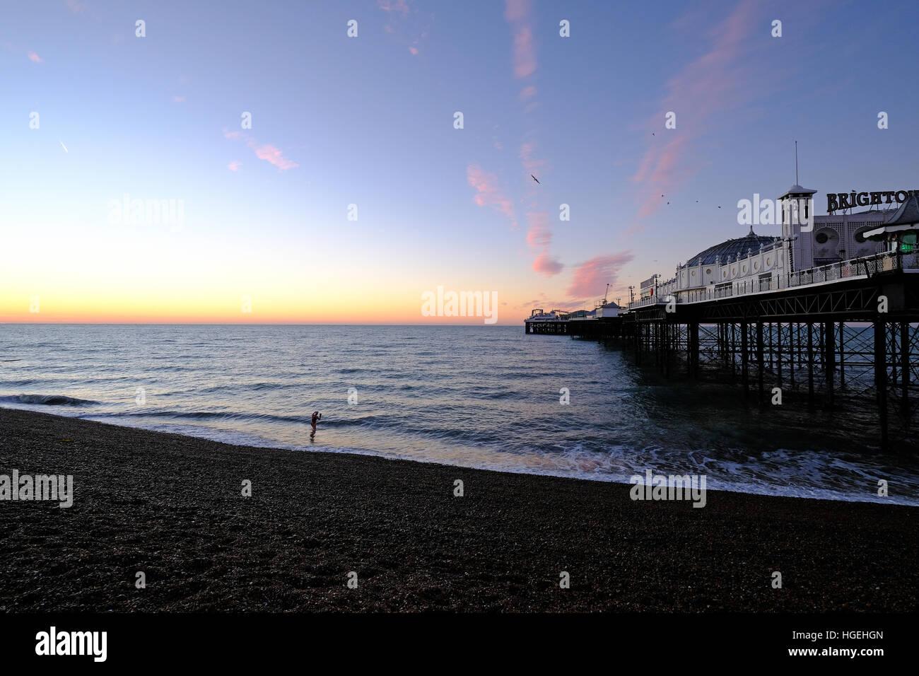 Brighton Palace Pier Sunrise East Sussex - Stock Image