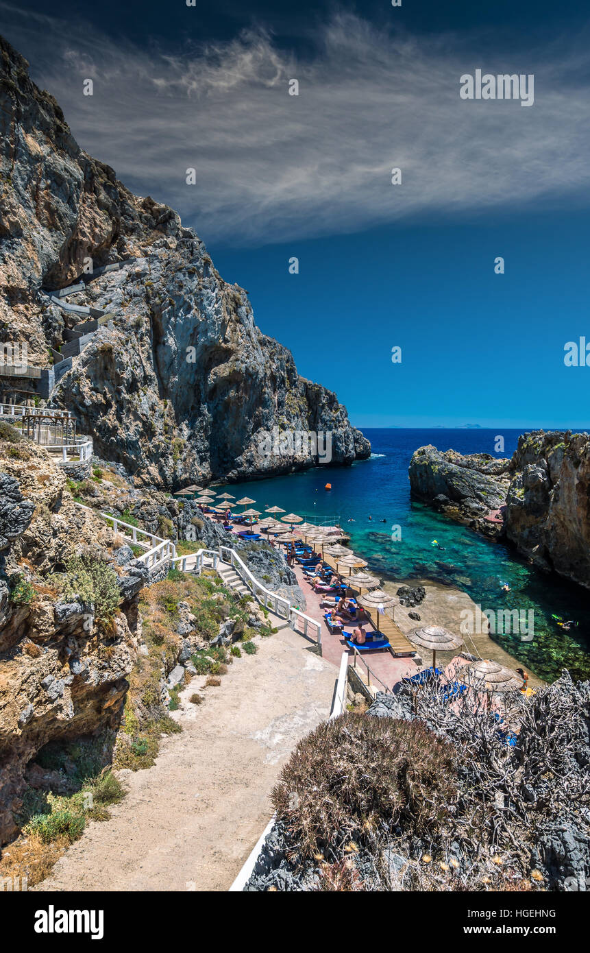 Calypso bay on Crete Island, Greece. Kalypso, Karavos beach is know as The Pirates Fjord Stock Photo