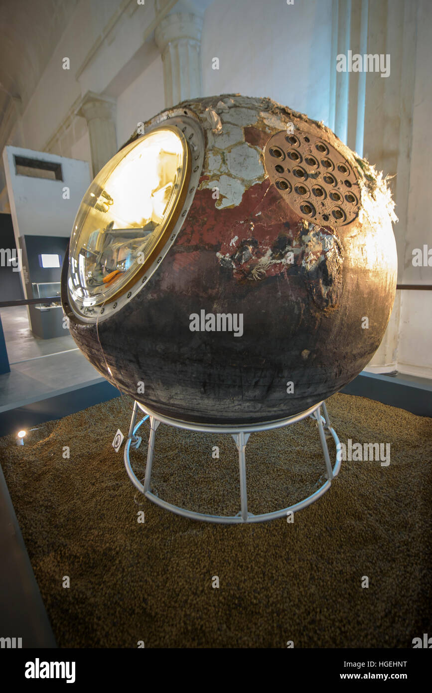 Original Vostok I capsule on display at the VDNKh main pavilion - Stock Image
