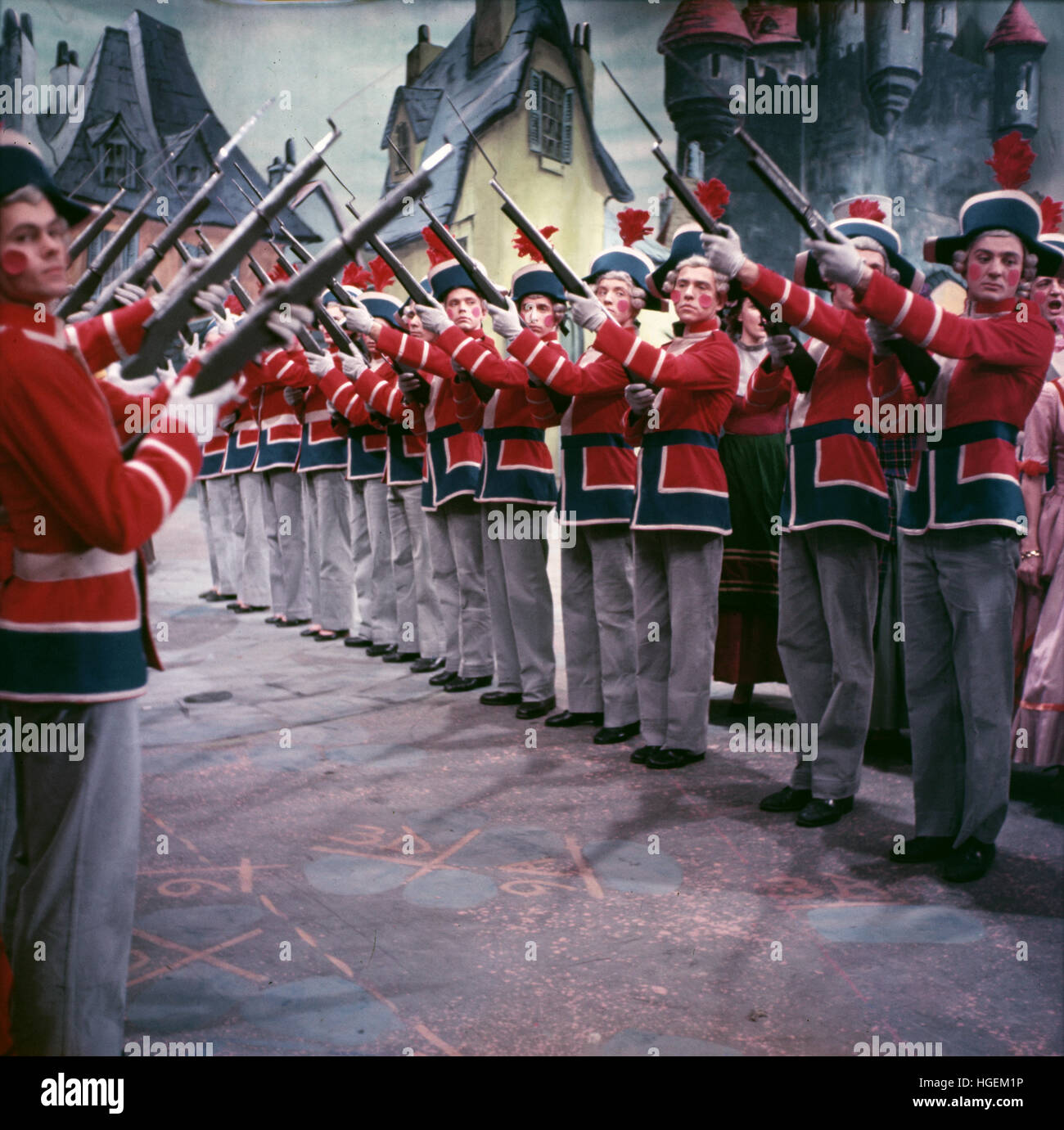 The toy soldiers in Babes in Toyland. This early television program was produced under the series titled Max Liebman - Stock Image