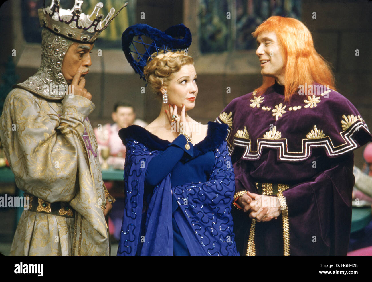 Boris Karloff, Gale Sherwood, and Leonard Elliott, in the 1955 production of A Connecticut Yankee in King Arthur's - Stock Image