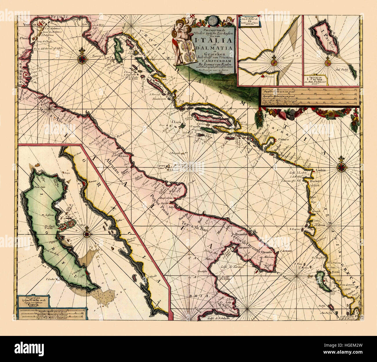 Map Of The Adriatic Sea 1700 - Stock Image