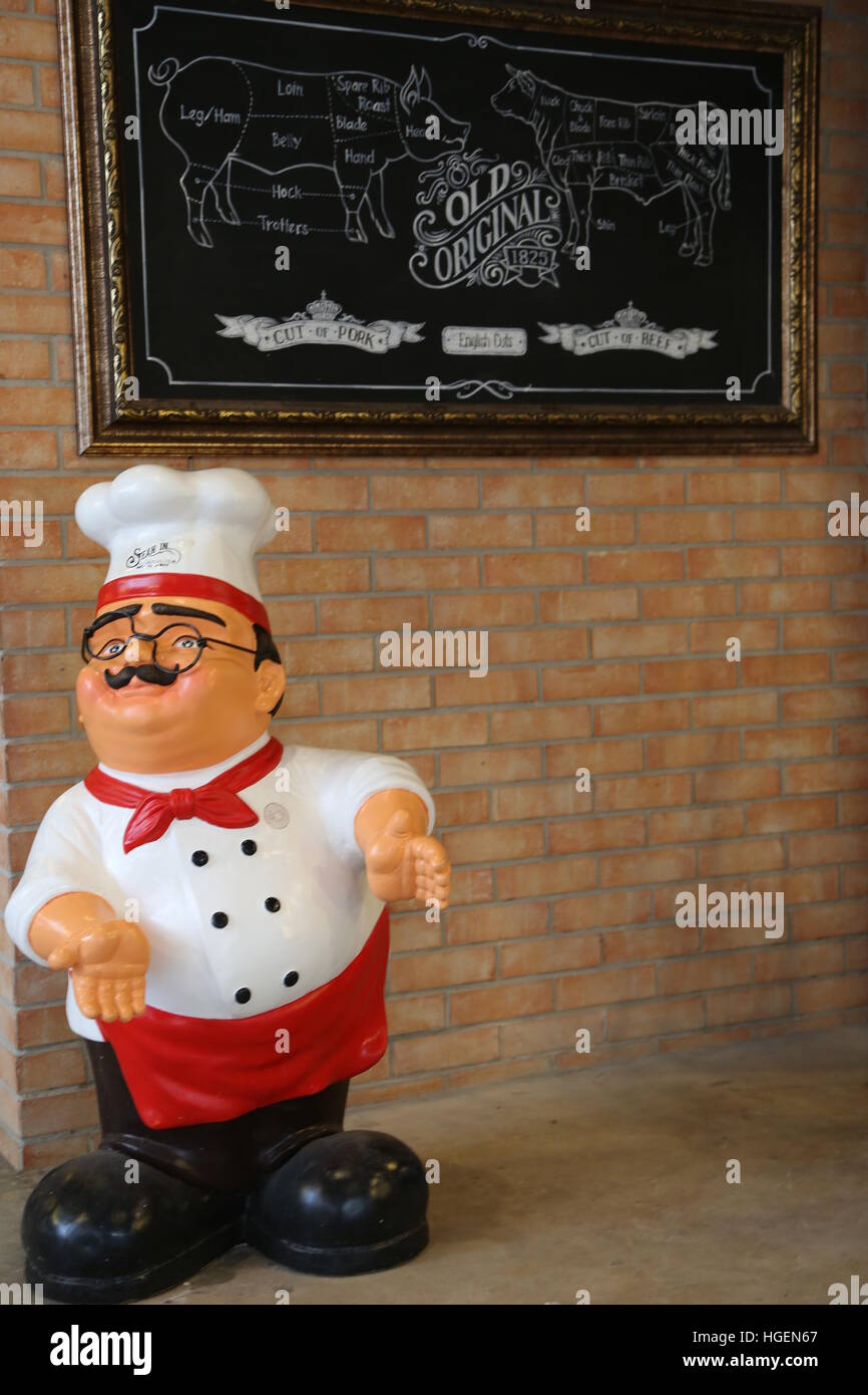 Chef introduces the pig and cow body part. Pig body part. Cow body part. Cooker doll. - Stock Image