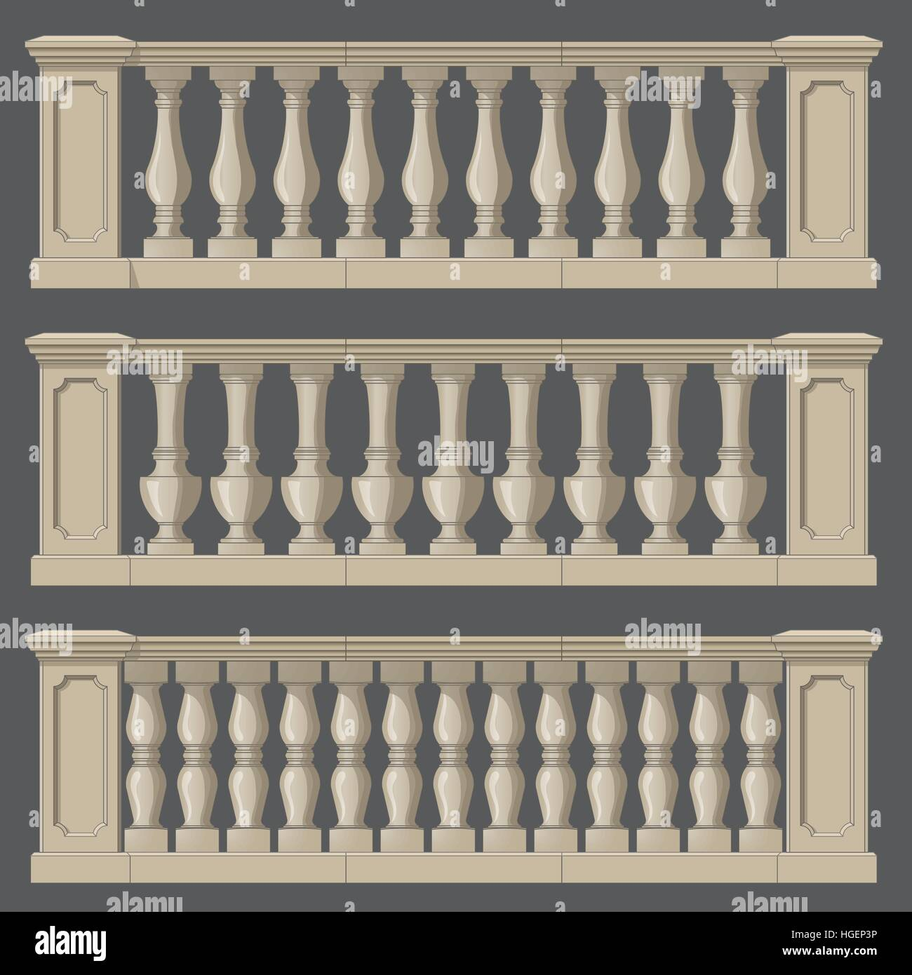 Outdoor and park elements balustrade , set of landscape - Stock Vector