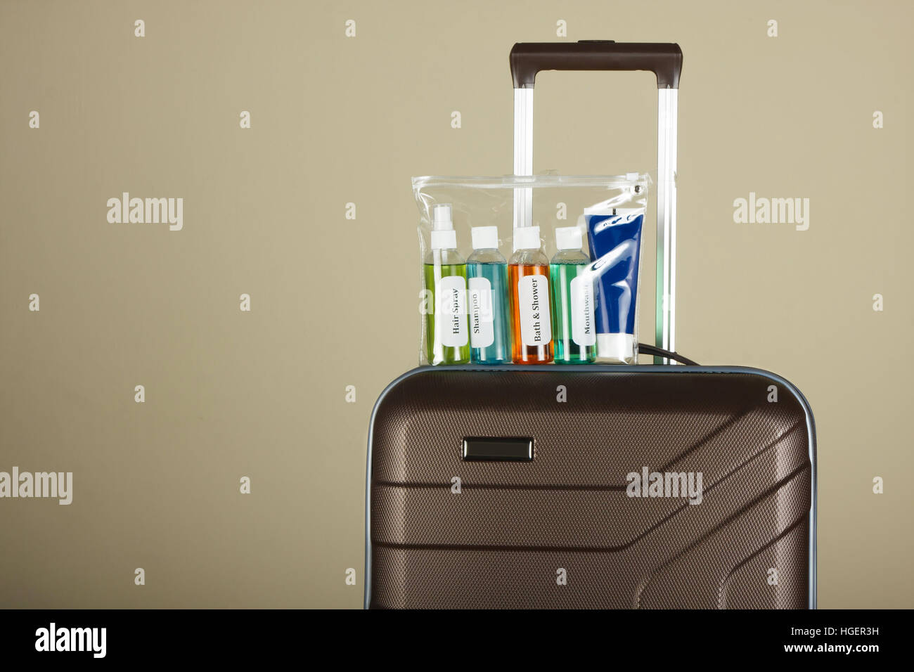 Cosmetic liquids in sachet. Liquid security check at Airport - Stock Image