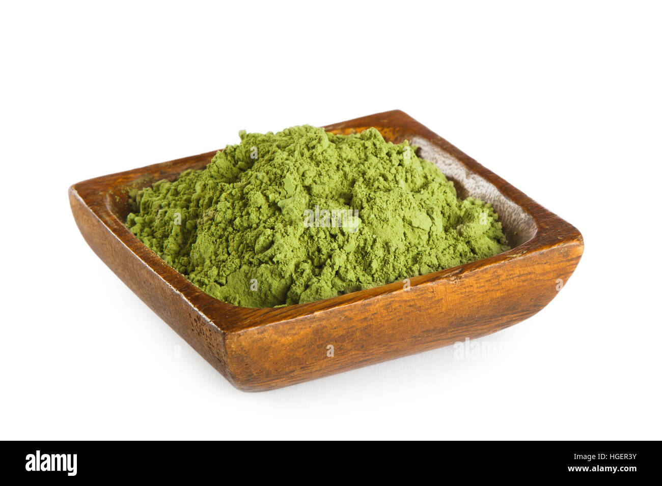 Matcha, powdered green tea isolated on white background. Superfood - Stock Image