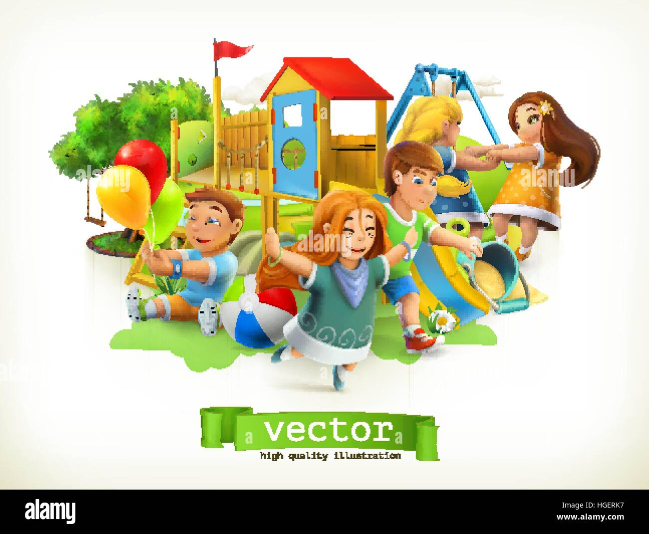 Park Kids Playground Outdoor Games 3d Vector Illustration Stock Vector Image Art Alamy
