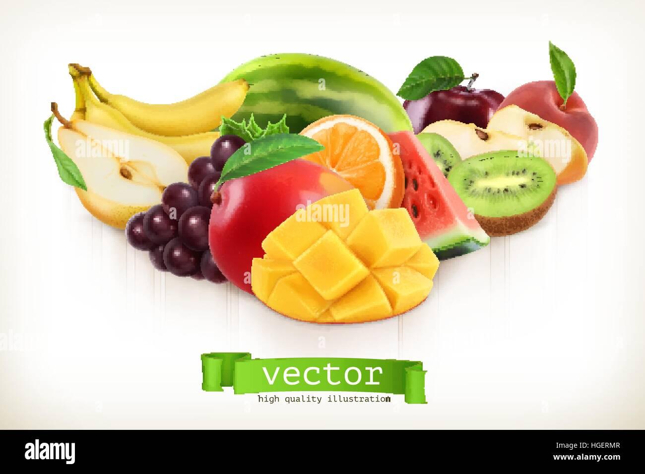 mango and juicy fruits vector illustration isolated on white stock
