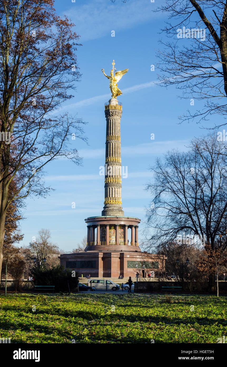 Victory Column, Siegessäule. Monument by Heinrich Strack to commemorate victory in the Danish-Prussian War. - Stock Image