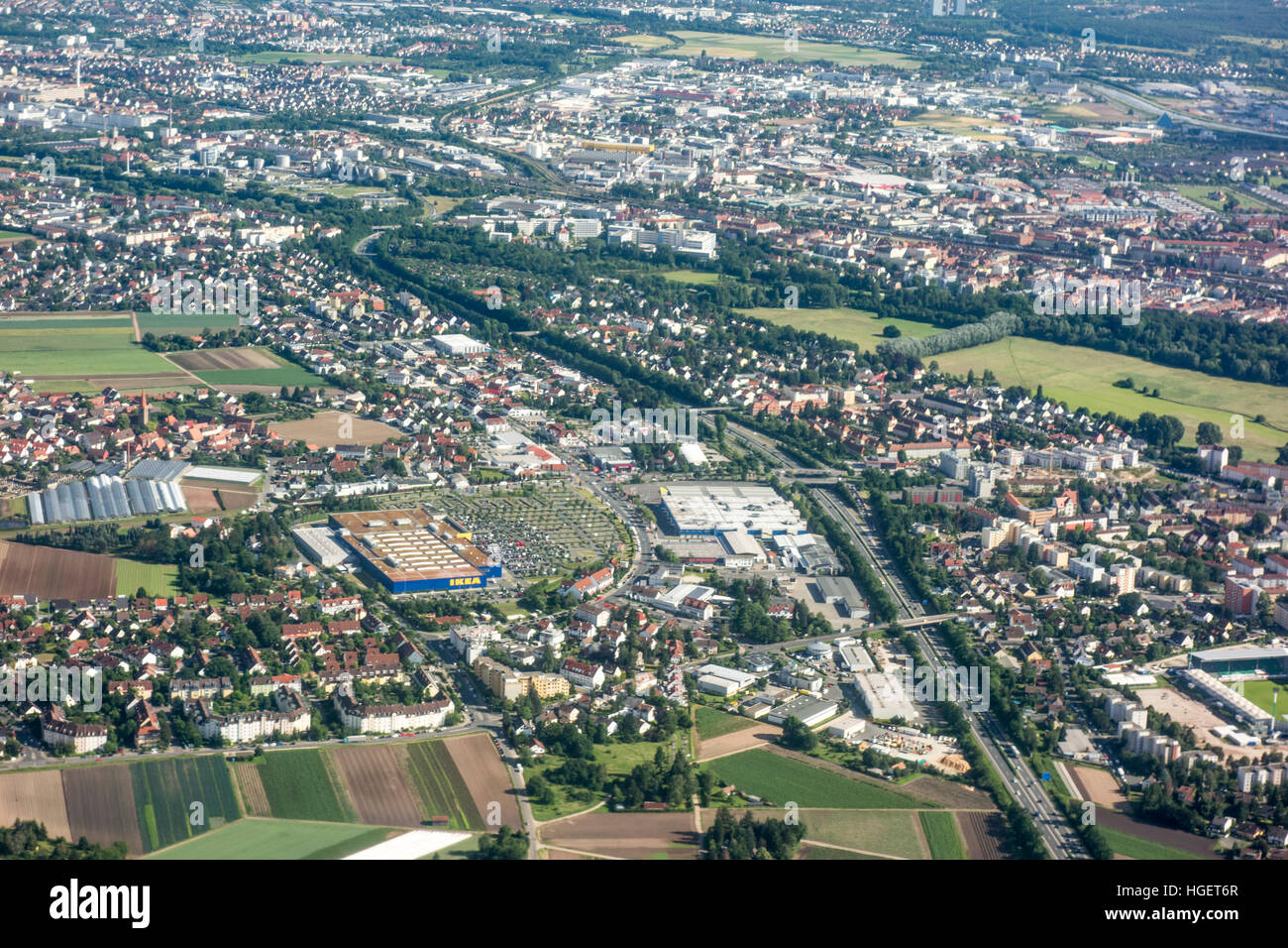 Arial view of Poppenreuth, Fürth in northern Bavaria, Germany, near Nuremberg airport. - Stock Image