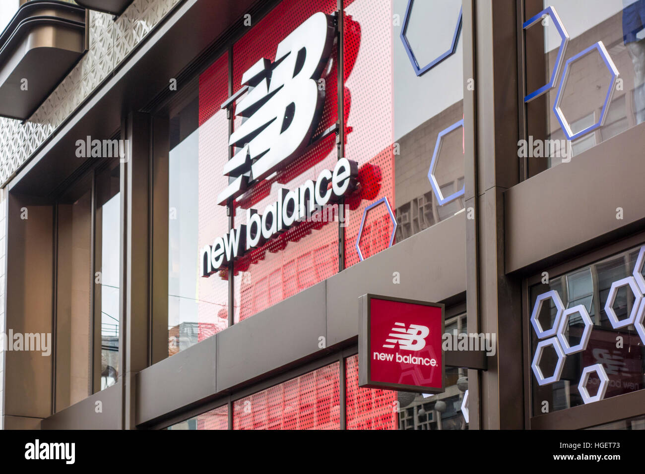 New Balance store shop sign, Oxford Street, London, UK Stock Photo ...