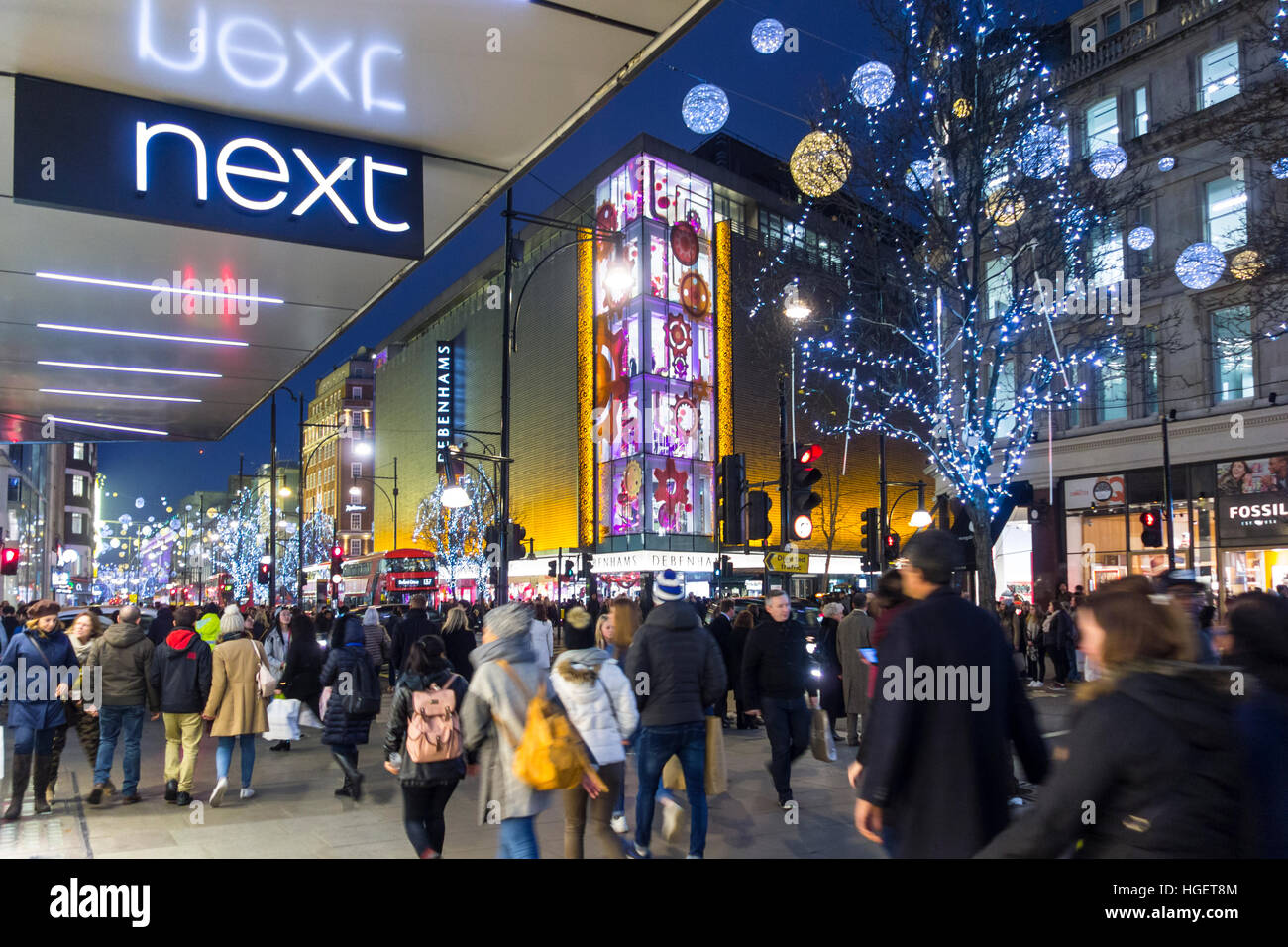 Christmas decorations on Oxford Street - Stock Image