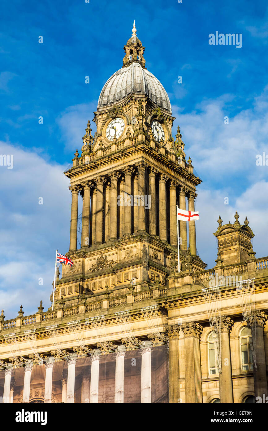 Leeds Town Hall by architect Cuthbert Brodrick. The Headrow, Leeds, West Yorkshire, UK - Stock Image