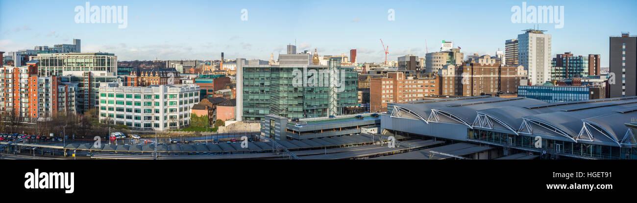 Leeds city centre skyline, West Yorkshire, UK - Stock Image