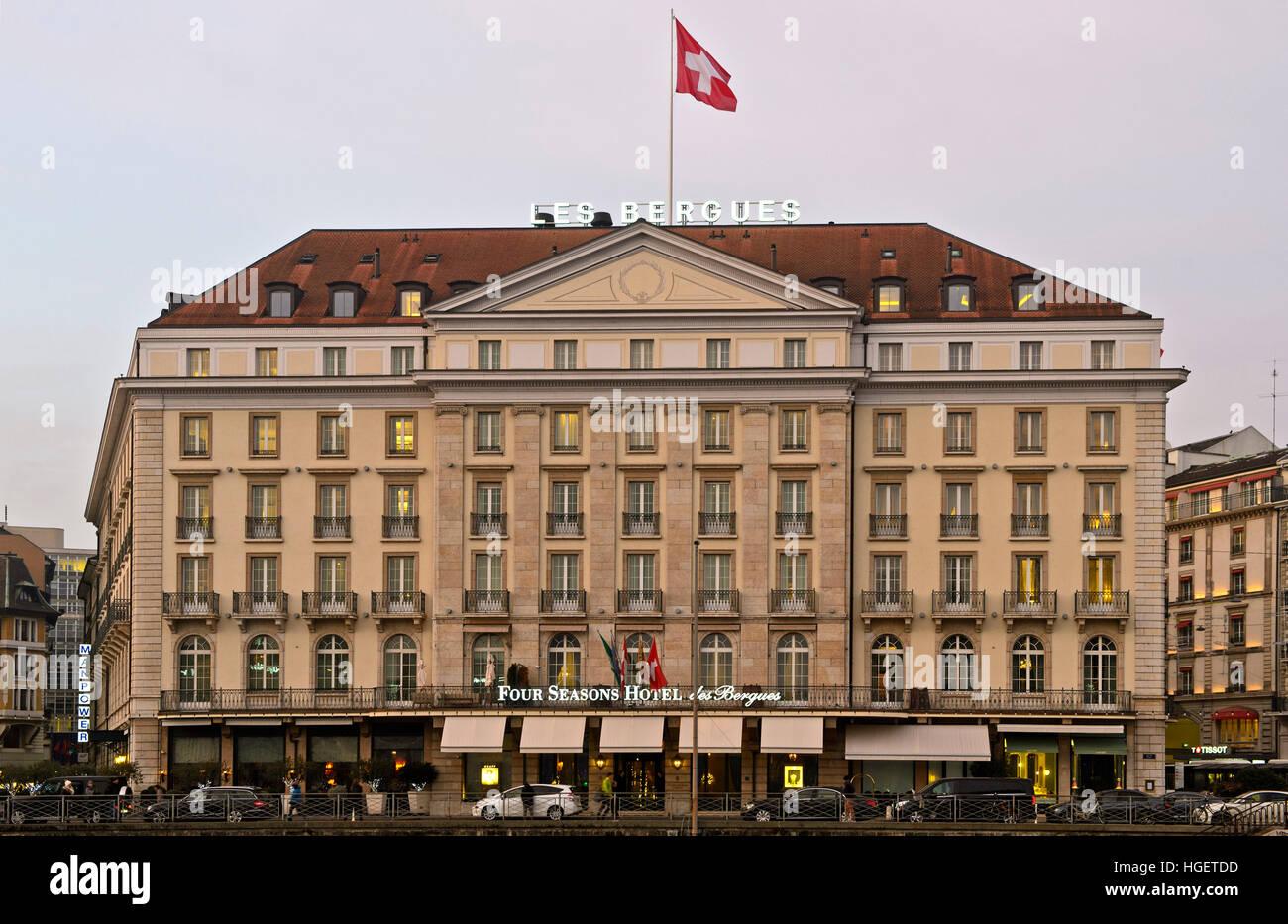 Four Seasons Hotel des Bergues on an evening in December, Geneva, Switzerland Stock Photo
