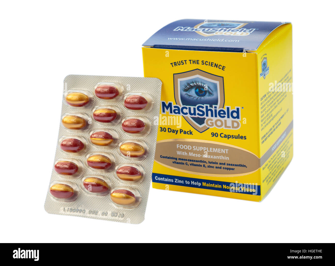 Packet of MacuShield food supplement tablets for health of retina in eye and preventing Age-related Macular Degeneration - Stock Image