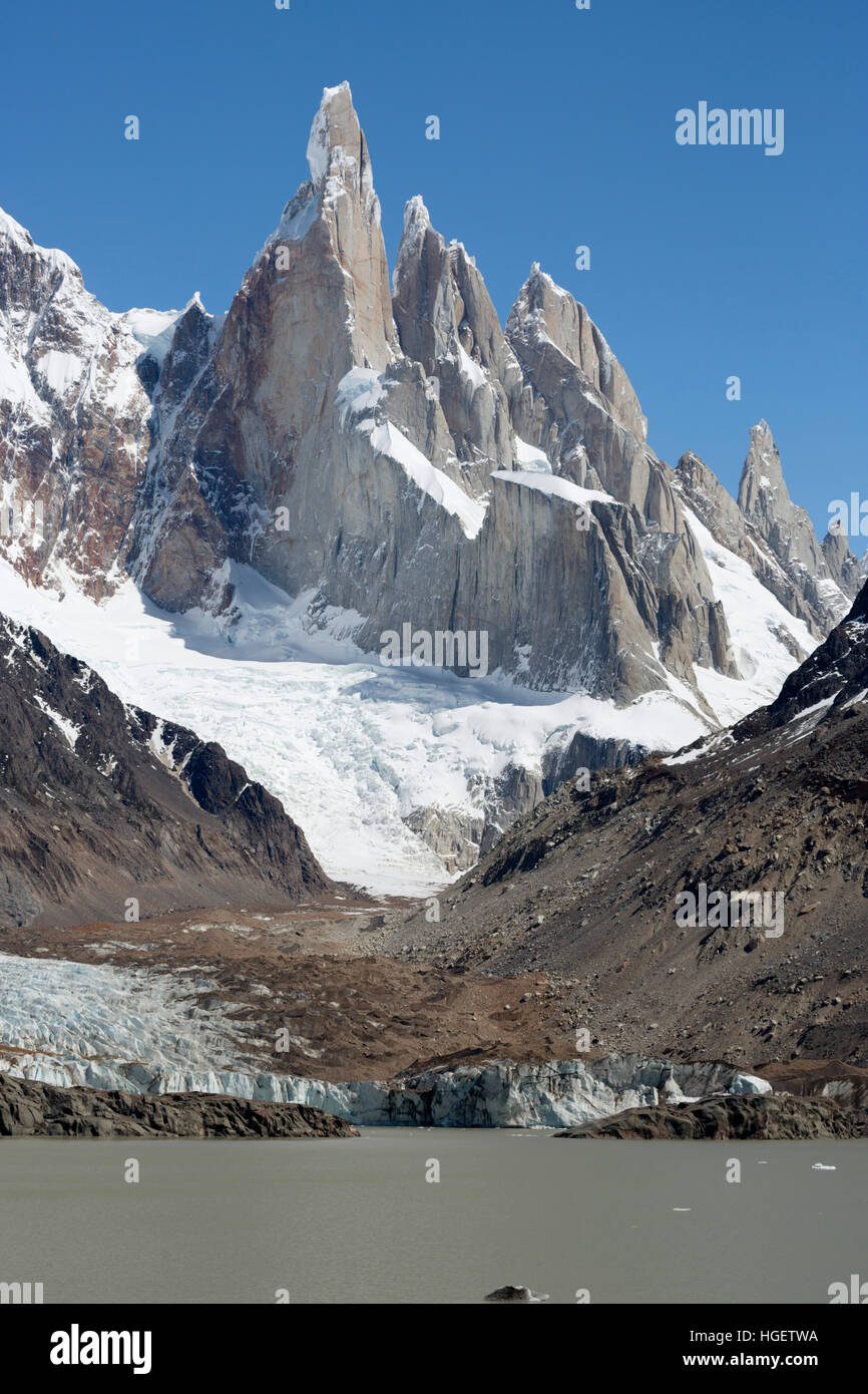Laguna Torre with view of Cerro Torre, El Chalten, Patagonia, Argentina, South America - Stock Image