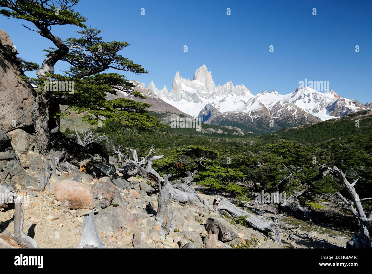 View of Mount Fitz Roy on Laguna de Los Tres trail, El Chalten, Patagonia, Argentina, South America - Stock Image