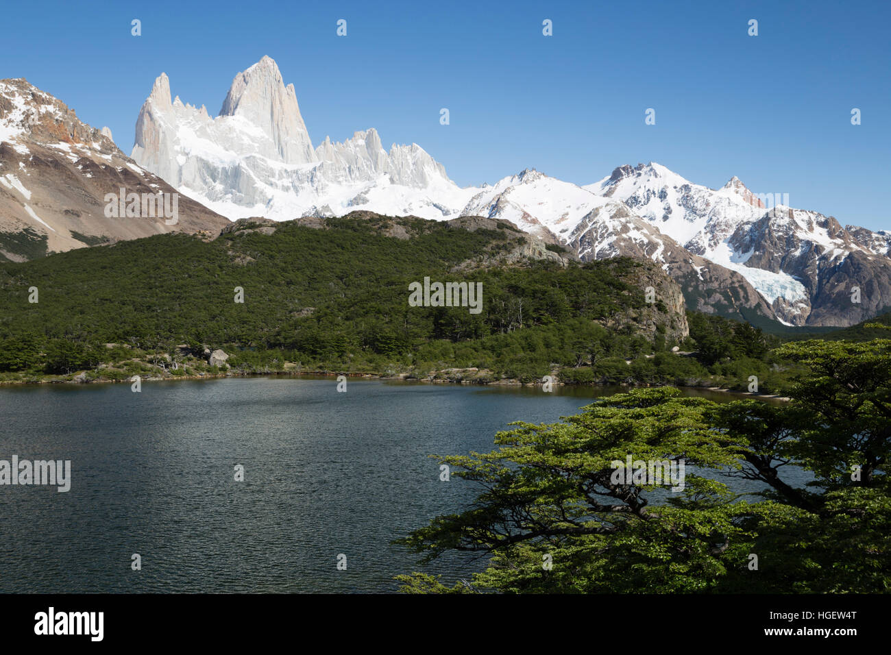 View of Mount Fitz Roy from Laguna Capri, El Chalten, Patagonia, Argentina, South America - Stock Image