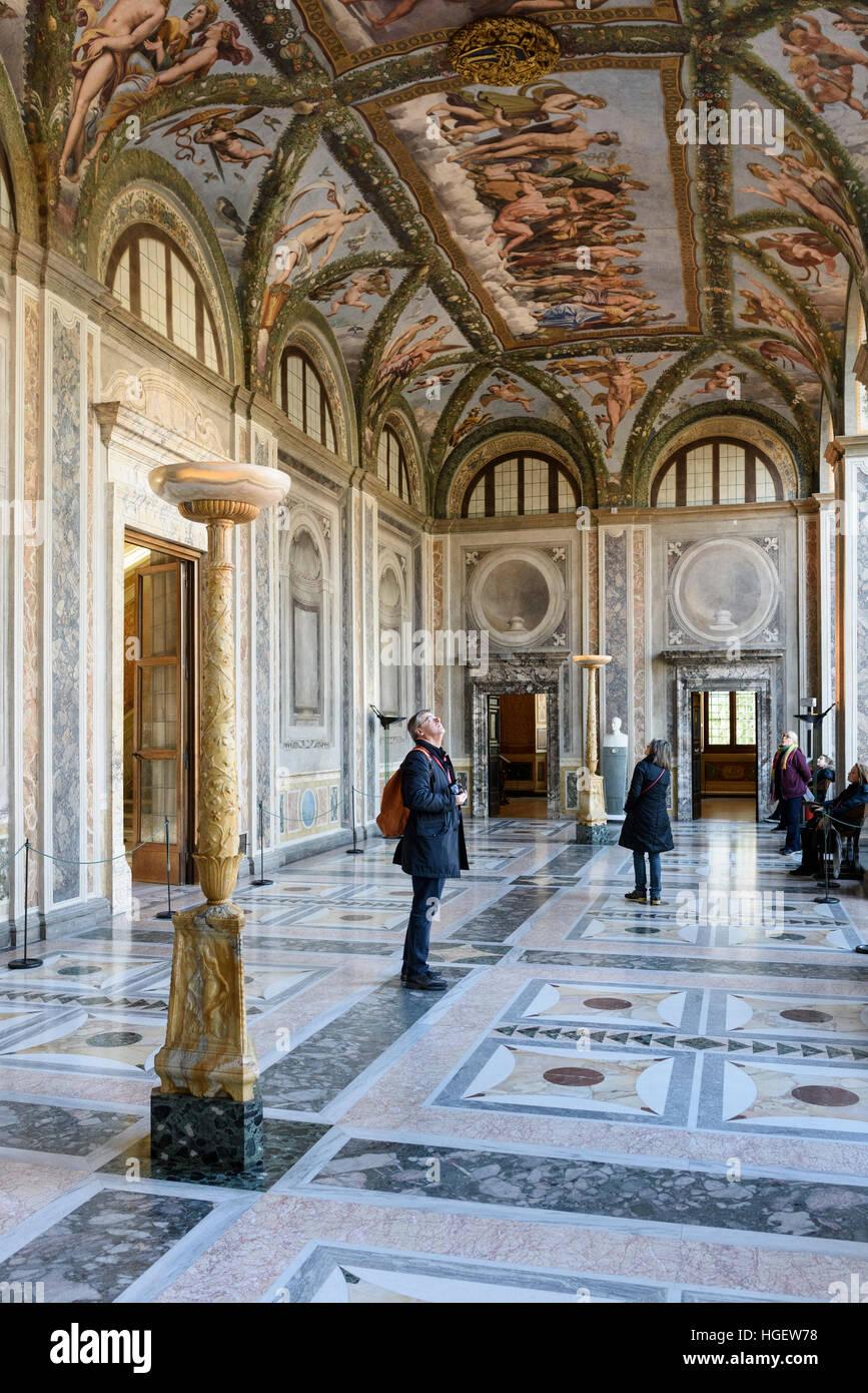 Rome. Italy. Villa Farnesina. La Loggia di Amore e Psiche (The Loggia of Cupid and Psyche), with frescoes by Raphael Stock Photo