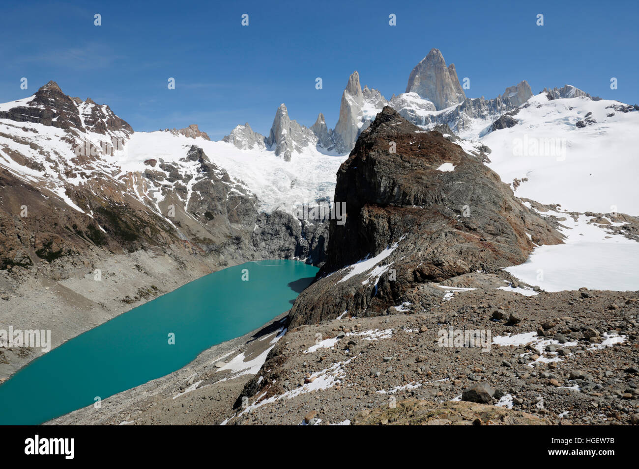View of Mount Fitz Roy and Laguna de Los Tres and Laguna Sucia, El Chalten, Patagonia, Argentina, South America - Stock Image