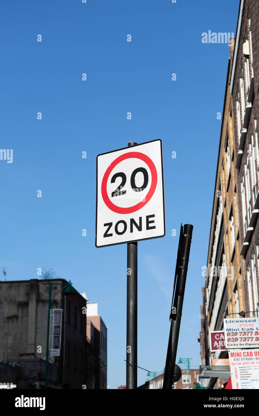 20 mph speed limits Street sign. Brick lane. London. UK - Stock Image