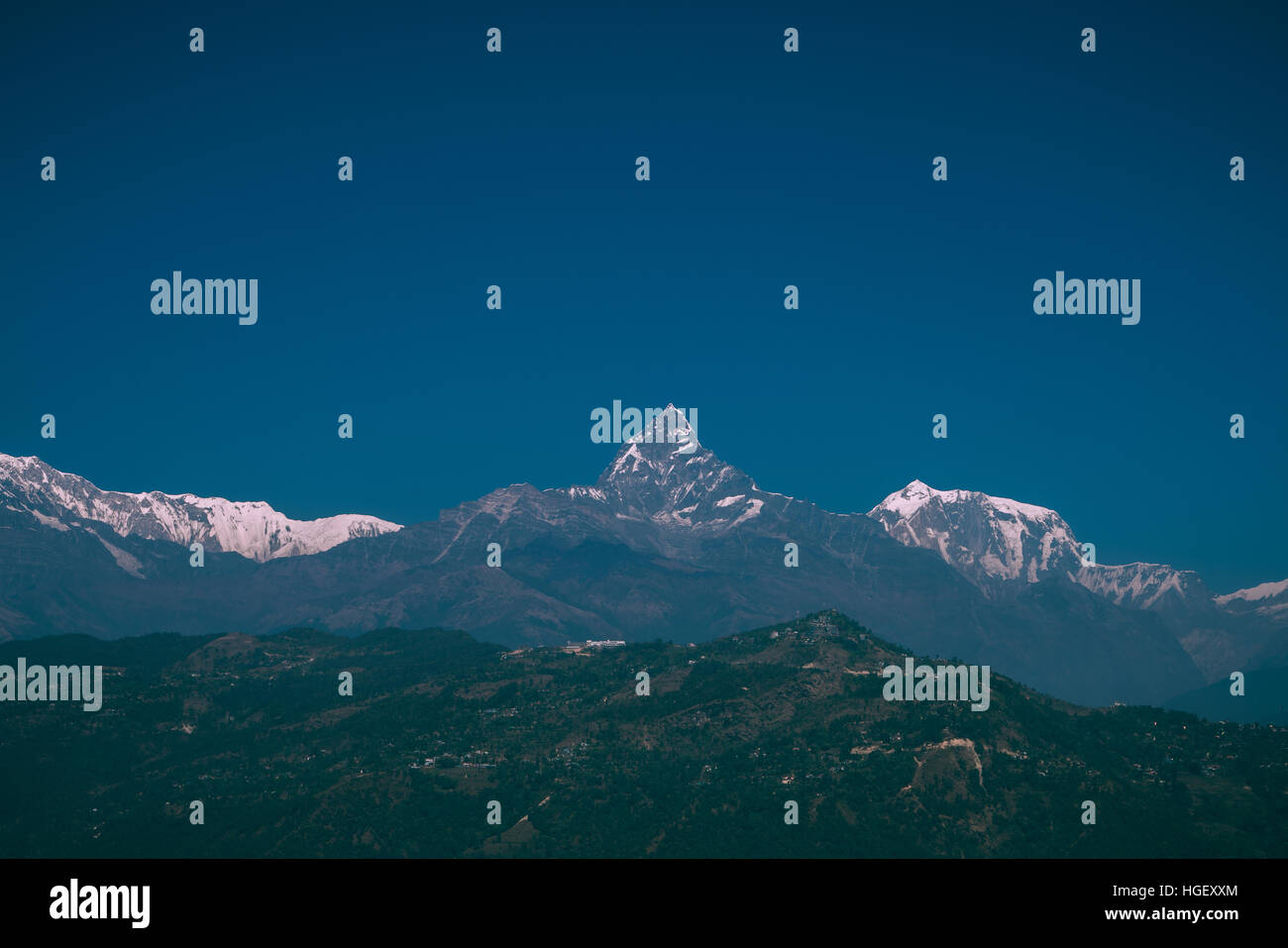 A view of Annapurna peak in Pokhara Nepal - Stock Image