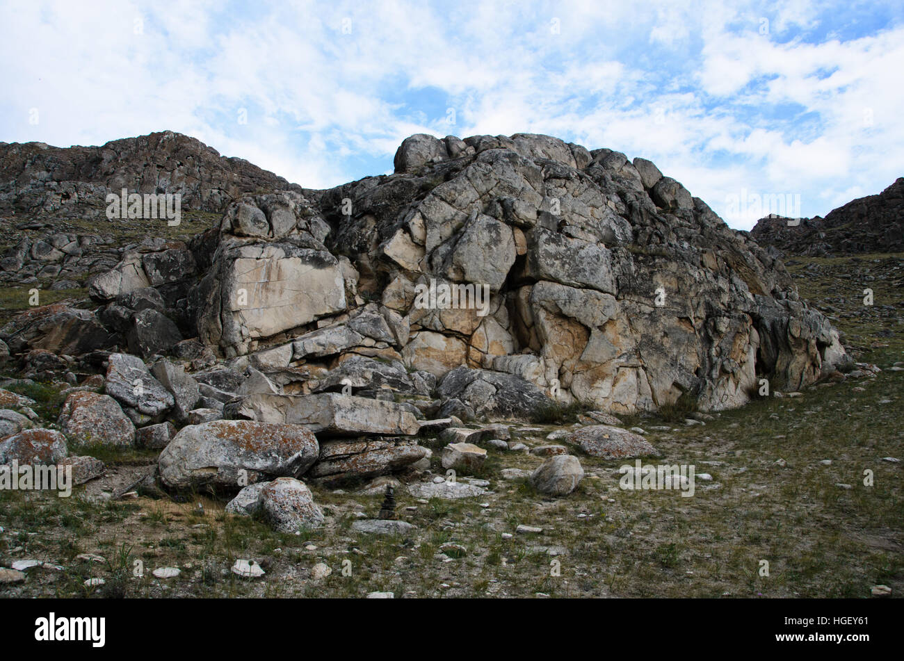 Prehistoric rock painting in Southern Siberia near Lake