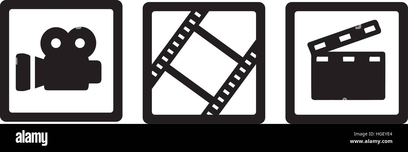Movie Cinema Icons Camera Film Reel And Clapperboard Stock Vector