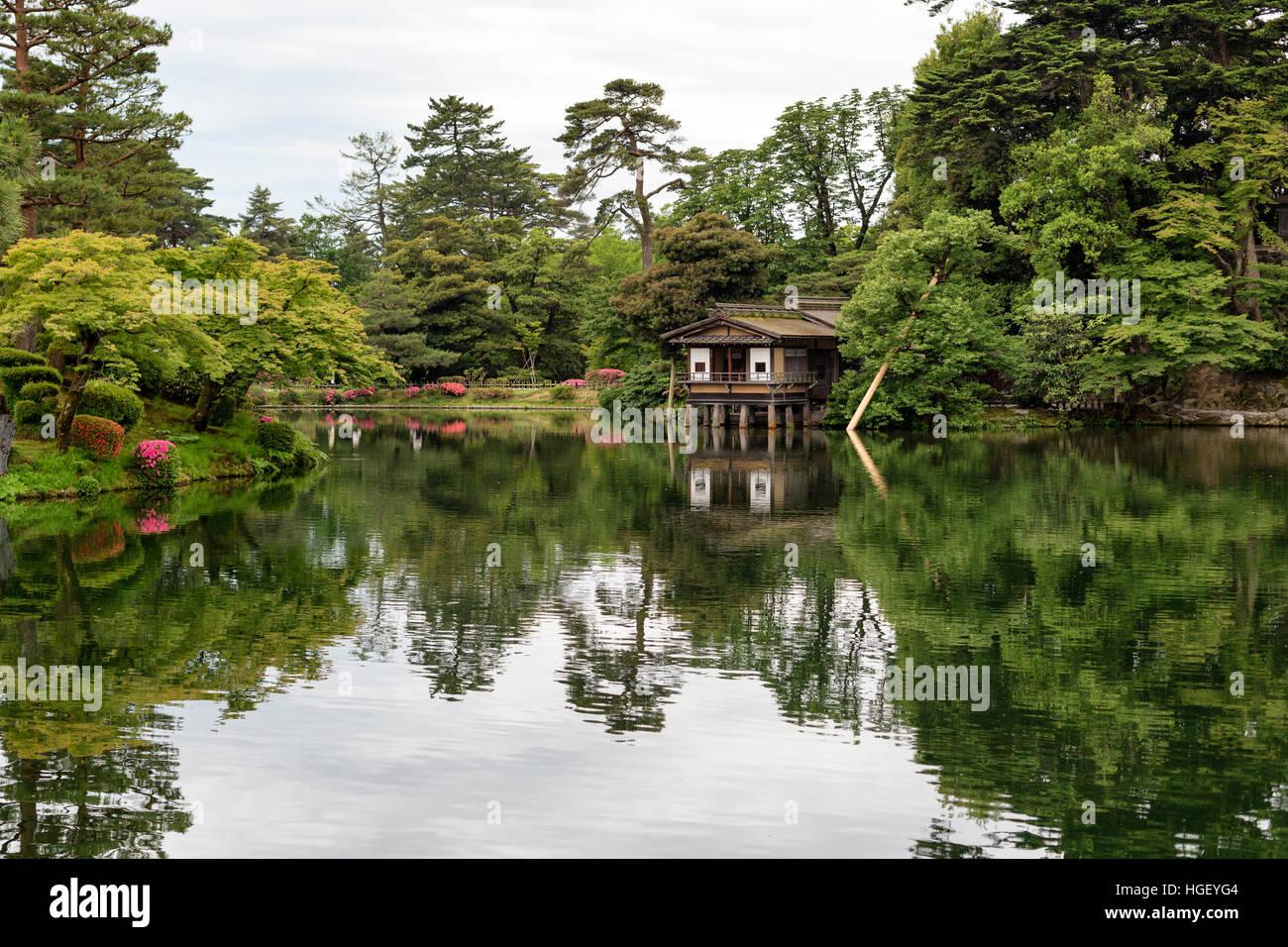 Tea House in Kanazawa in Kenrokuen Garden Kanazawa - Stock Image