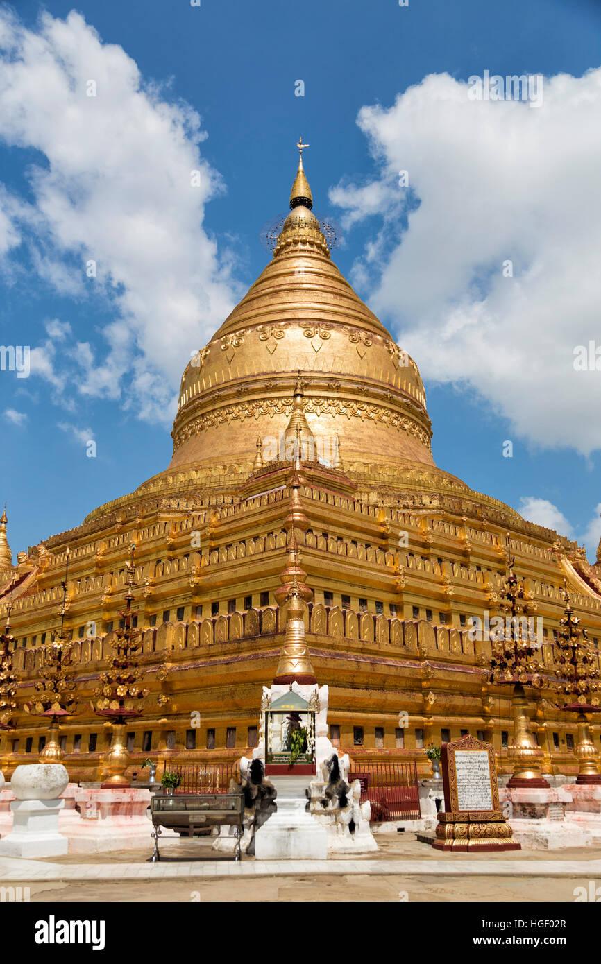Shwezigon Pagoda , Bagan in Myanmar (Burma) Asia Stock Photo